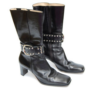 {Antonio Melani} Black Leather Silver Buckle Boot